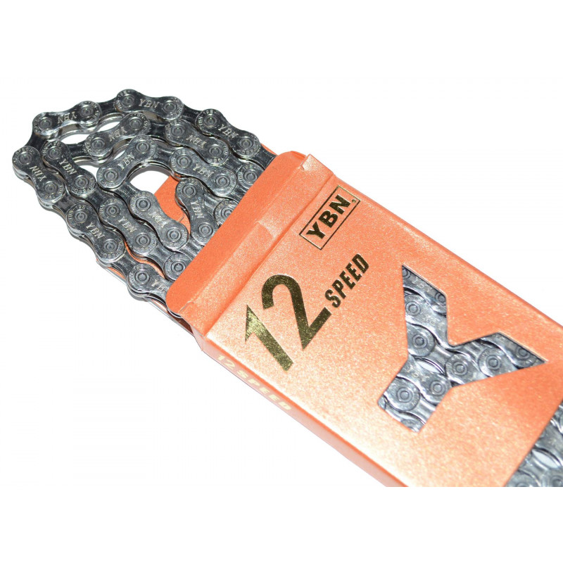 Цепь YBN S12s2 12 скоростная silver/silver  с замком