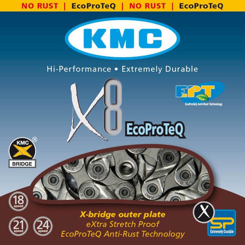 Цепь KMC X8 EPT 8-скоростная 116 звеньев Taiwan